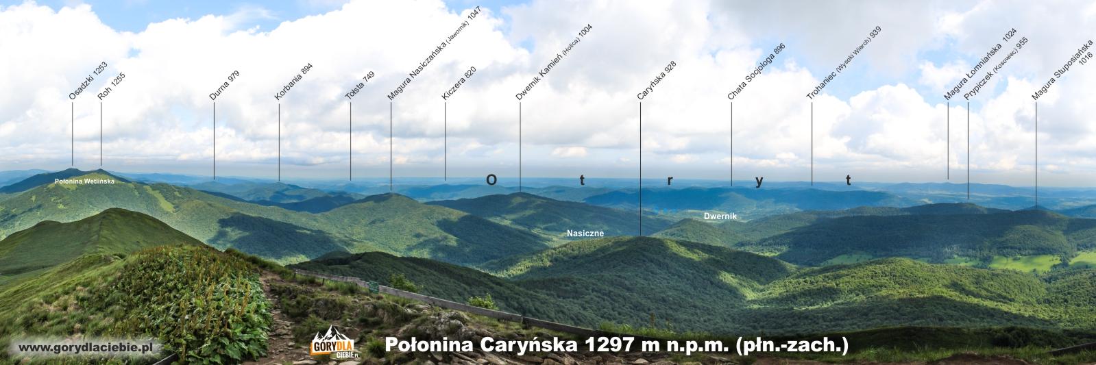Panorama (z opisem) z Połoniny Caryńskiej w kierunku płn.-zach.
