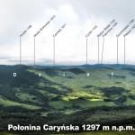 Połonina Caryńska - panorama w kierunku zachodnim z opisem szczytów i miejscowości