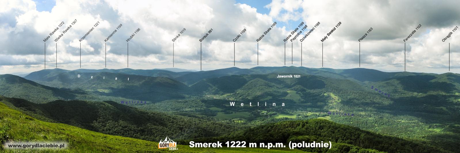 Panorama (z opisem) ze Smereka w kierunku poludiowym