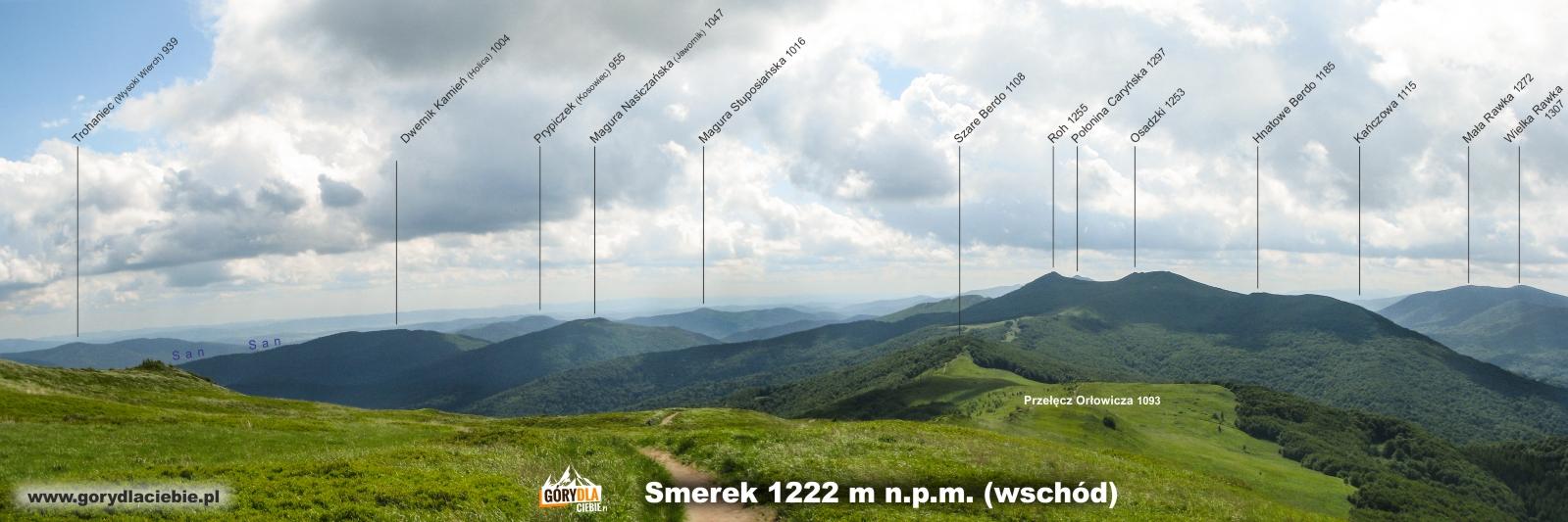Panorama (z opisem) ze Smereka w kierunku wschodnim
