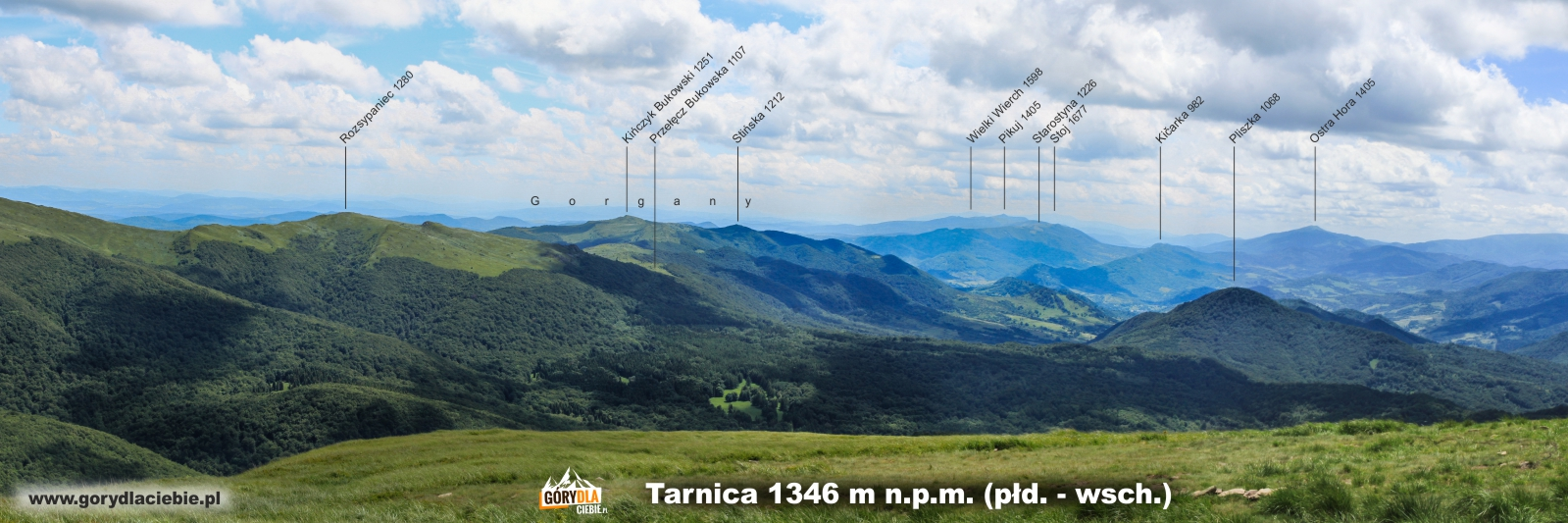 Panorama z Tarnicy na płd.-wsch. (opis)