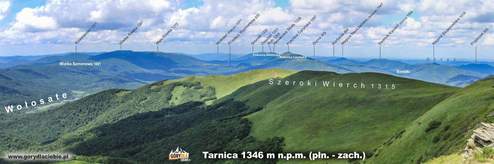 Panorama z Tarnicy na płn.-zach. (opis)