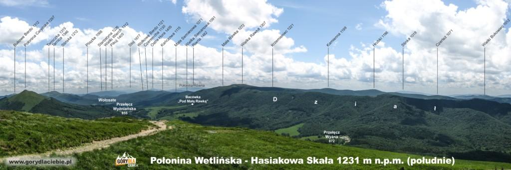 Panorama (z opisem) z Połoniny Wetlińskiej w kierunku południowym