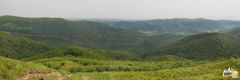 Widok z Wielkiej Rawki, w dole Ustrzyki Górne
