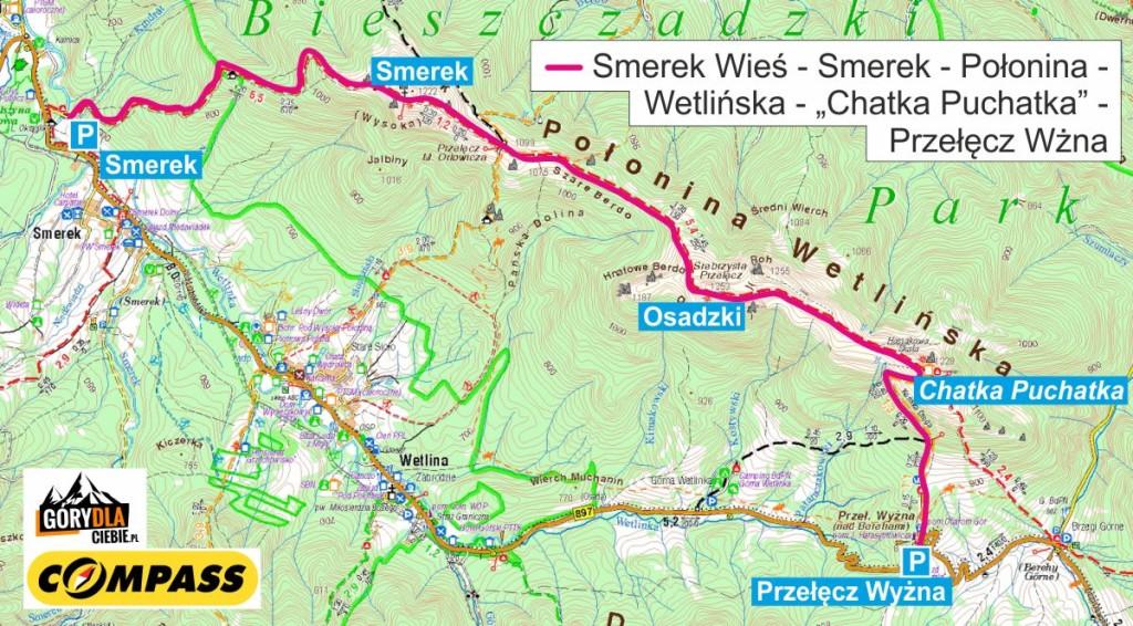 Smerek i Połonina Wetlińska - mapa