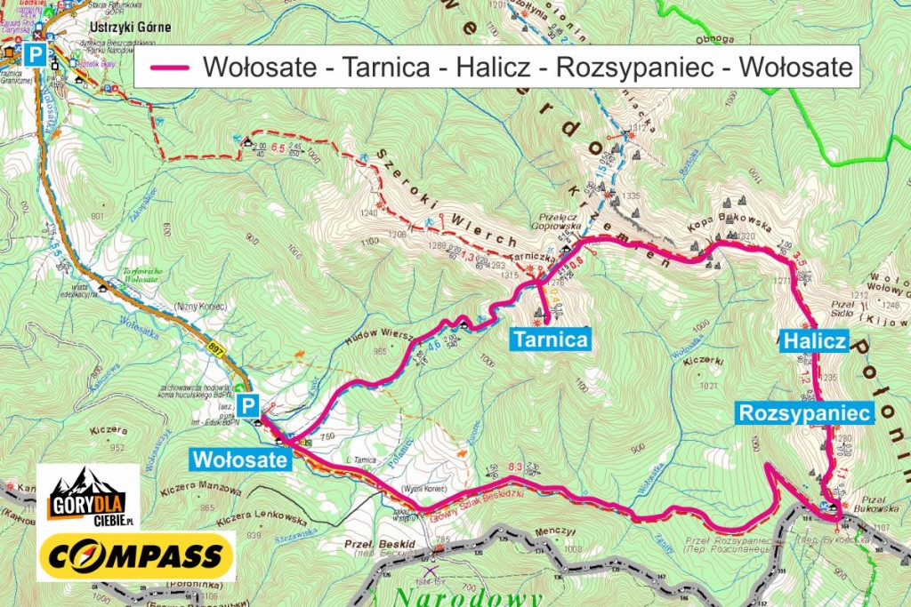 Tarnica iHalicz - mapa