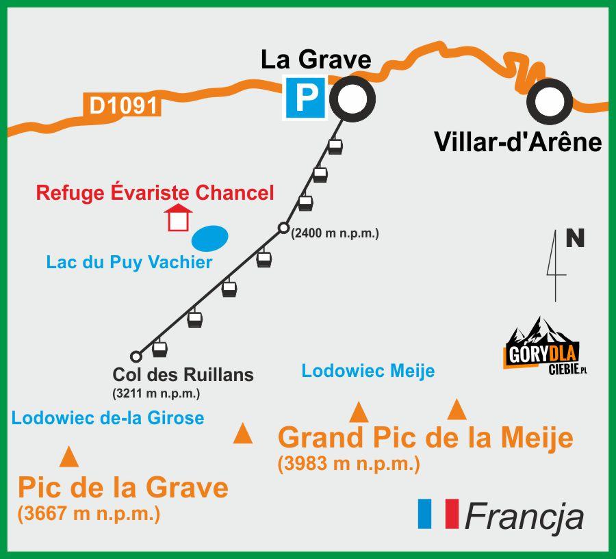 Otoczenie lodowca La Meije - plan wyprawy