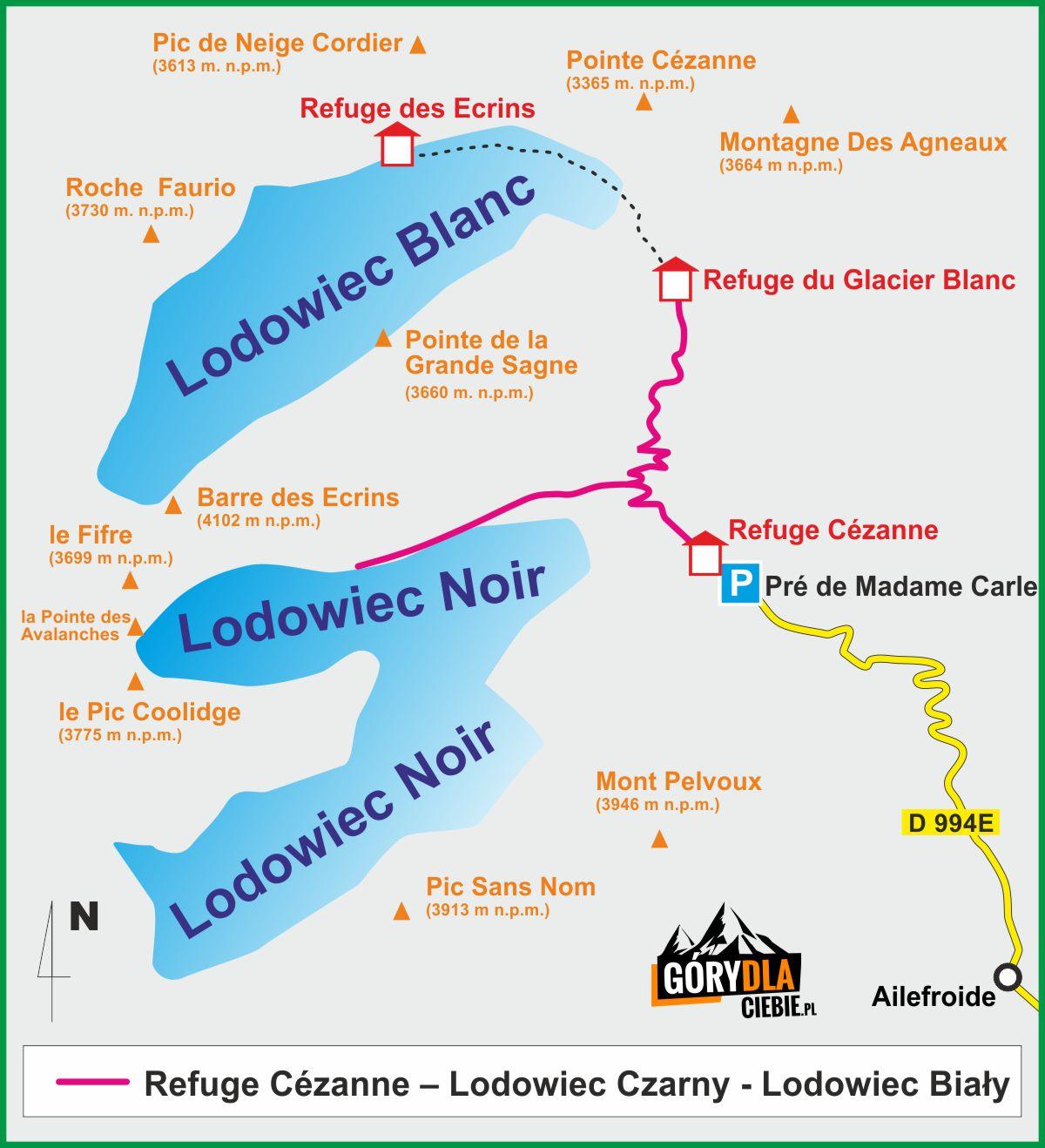 Lodowiec Czarny iLodowiec Biały - mapa