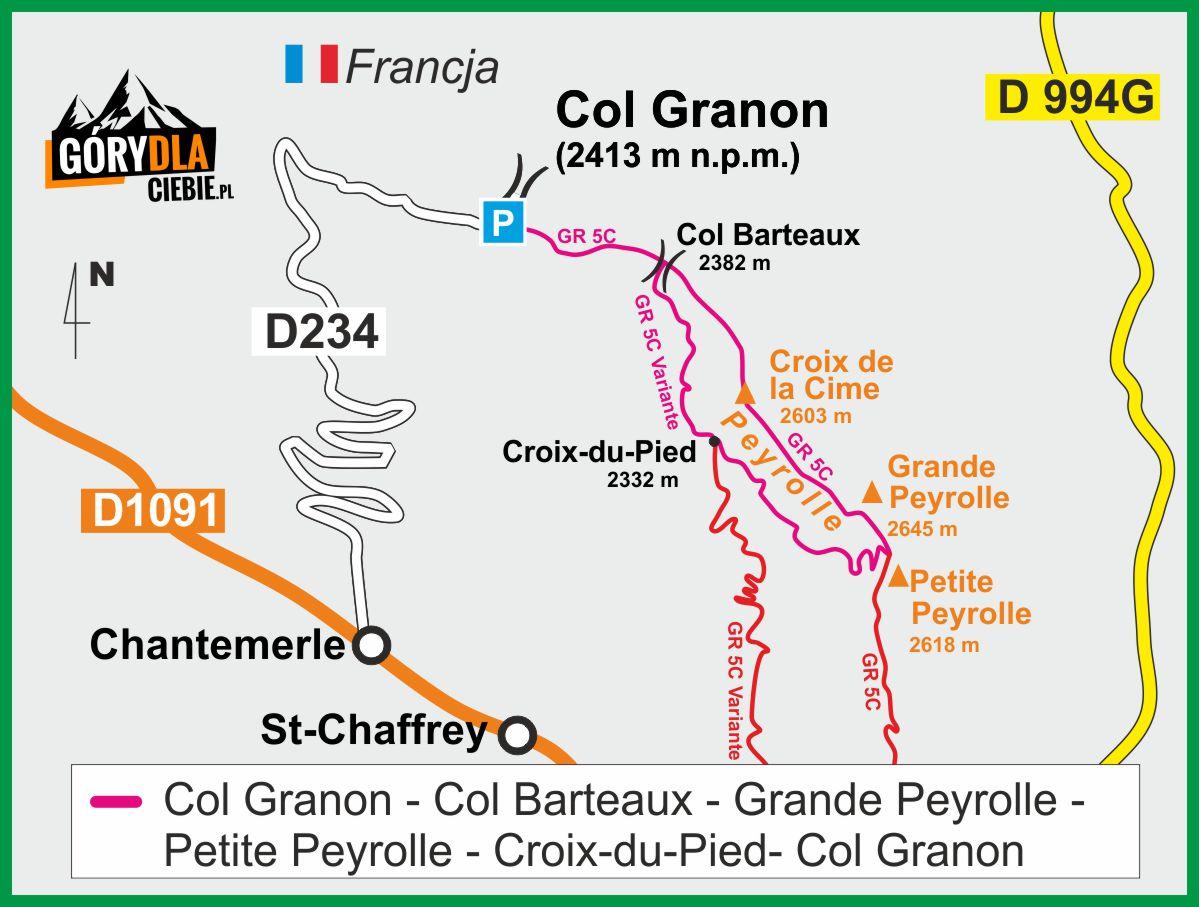 Grań Peyrolle z Przełęczy Granon - mapa