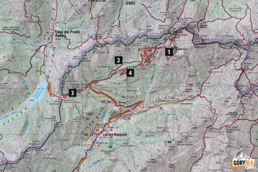 Mantgartska Droga - mapa na tablicy informacyjnej w Log pod Mangartom
