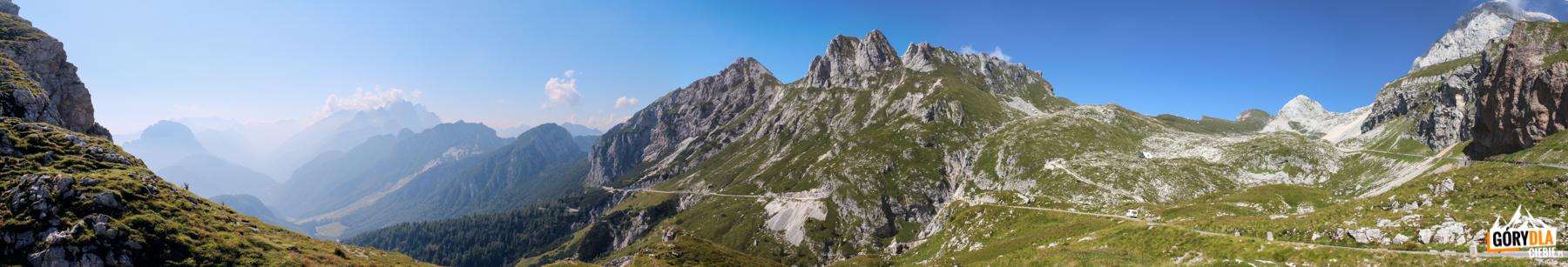 Panorama górnego odcineka Mangartskiej Drogi