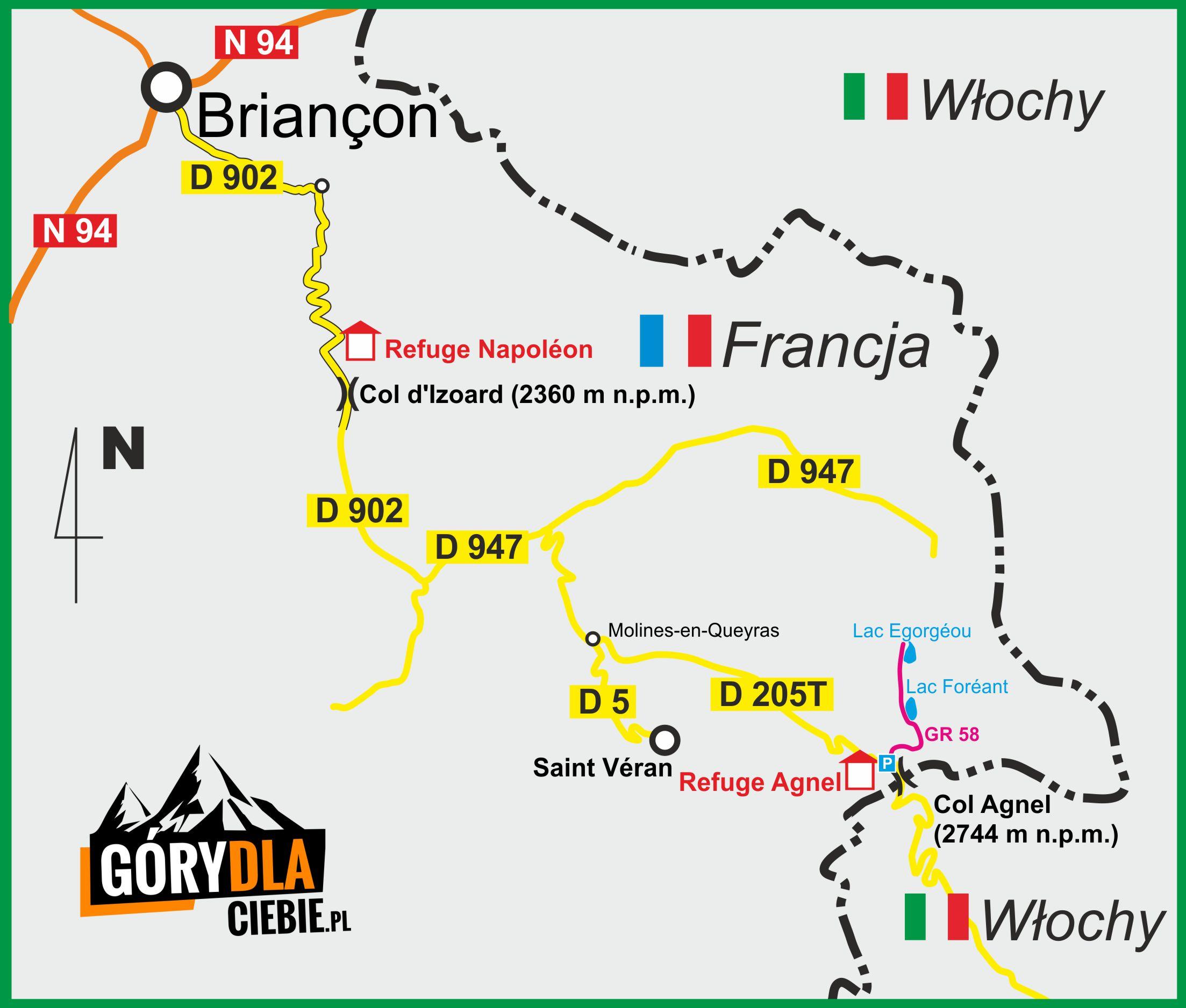 Saint Véran i Col Agnel - mapa