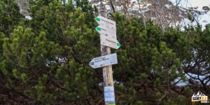 Rozwidlenie szlaków w Dolinie Roztoki - czarny szlak do schroniska przy Przednim Stawie
