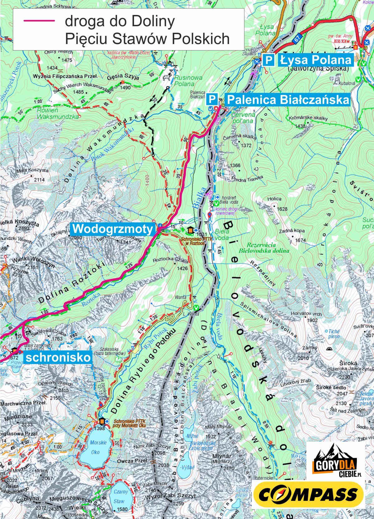 Mapa trasy do Doliny Pięciu Stawów Polskich