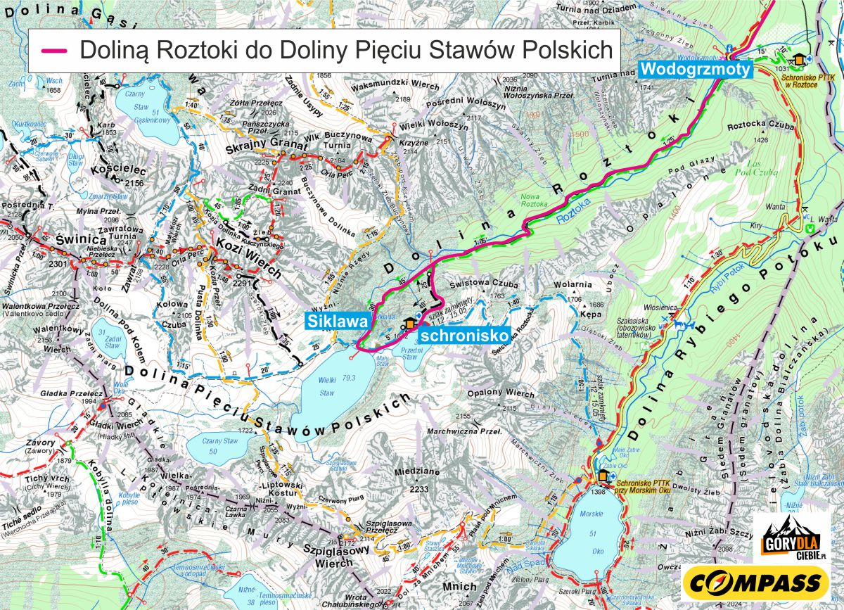 Mapa trasy doDoliny Pięciu Stawów Polskich