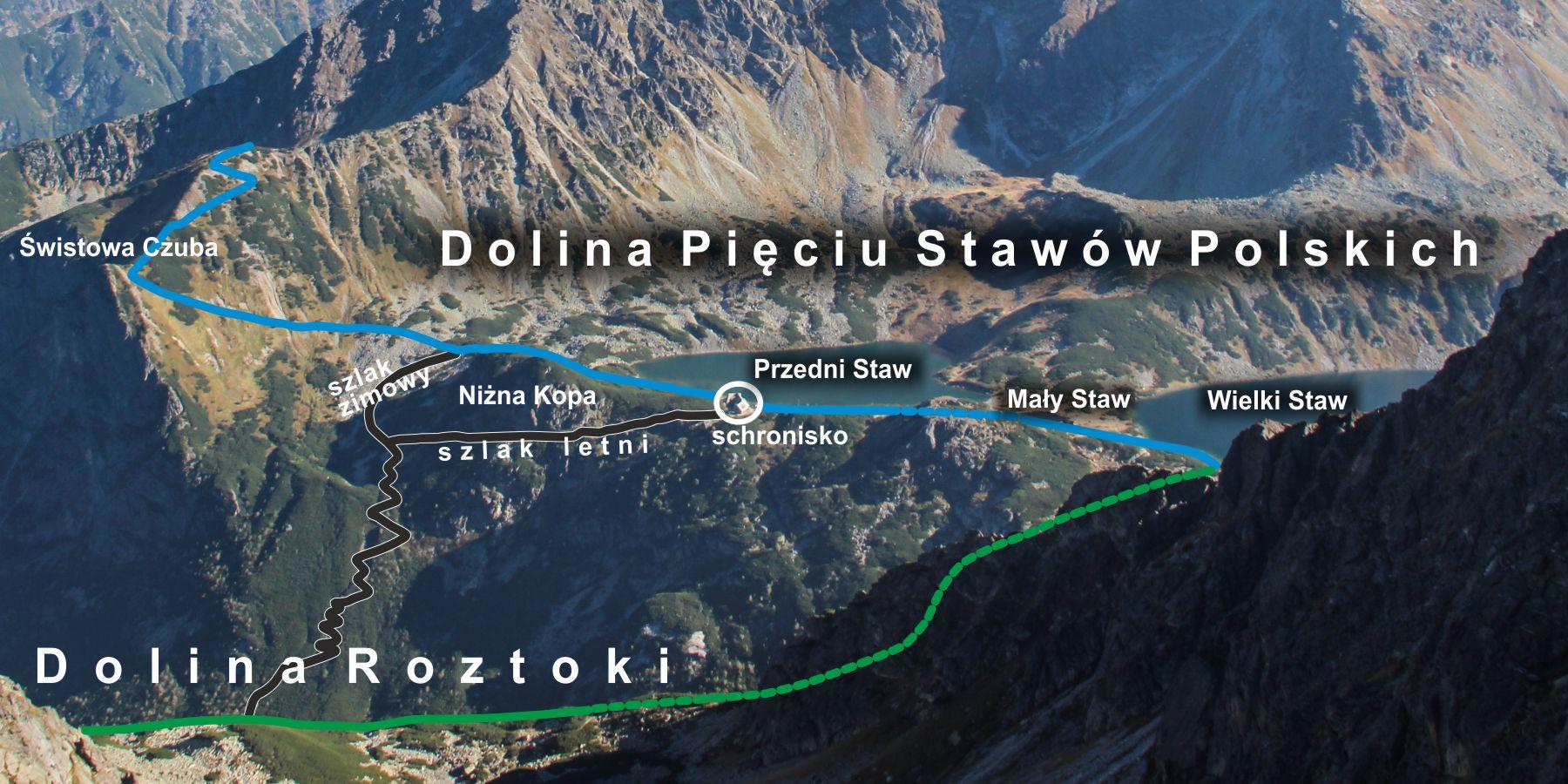 Szlaki doSchroniska wDolinie Pięciu Stawów Polskich
