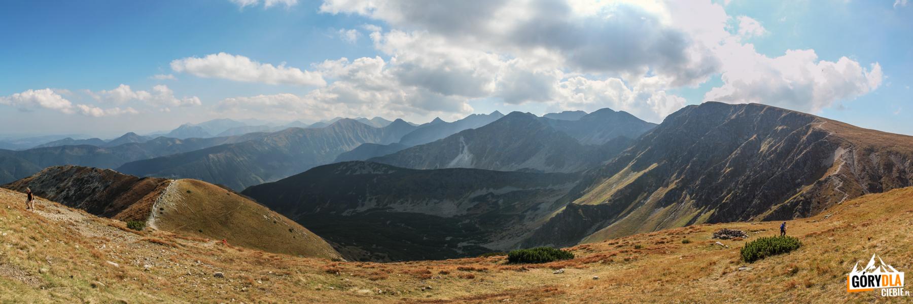 Widok zBrestowej (1934 m) naSalatyn (2048 m), Spaloną Kopę (2083 m), Pachoł (2167 m) icałą grań Rohaczy