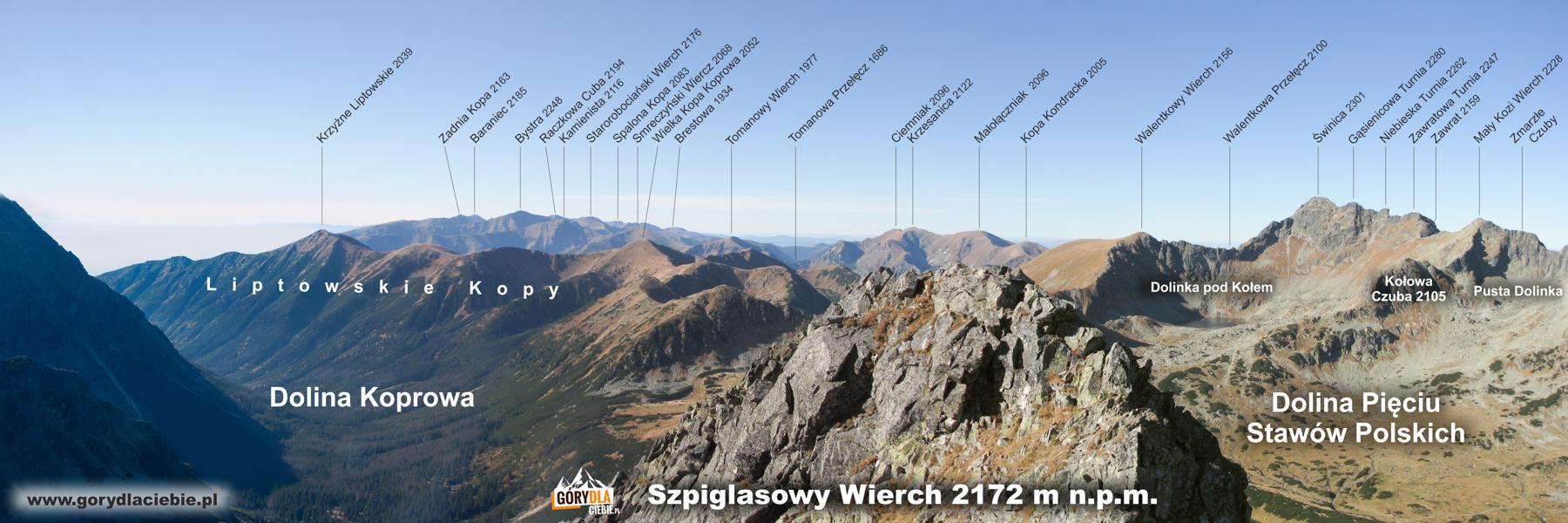 Panorama ze Szpiglasowej Przełęczy