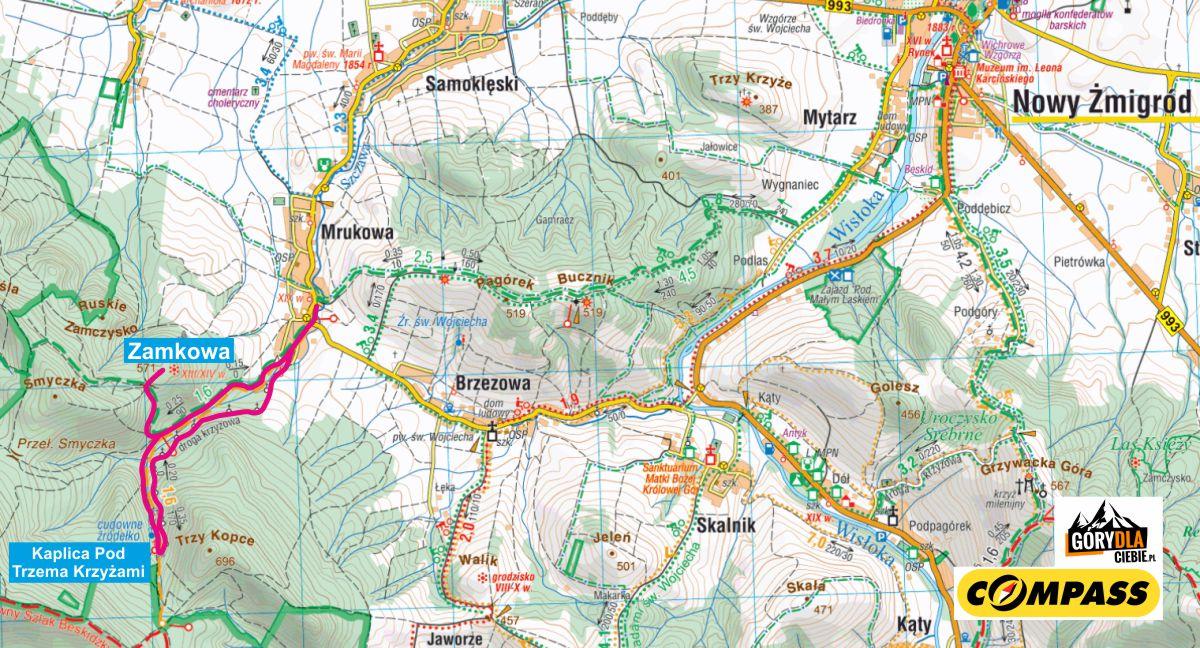 Góra Zamkowa - mapa trasy