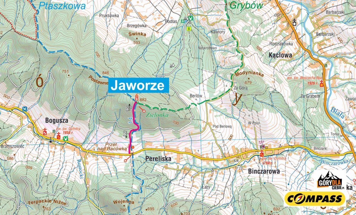 Jaworze - mapa trasy
