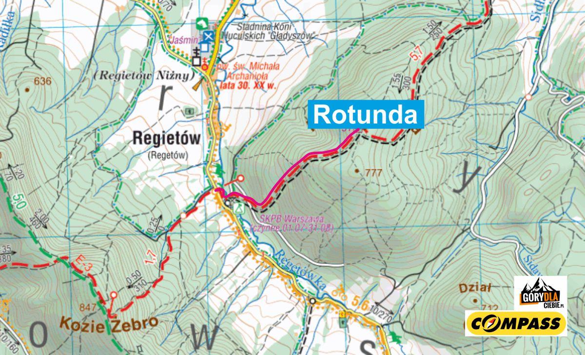 Rotunda - mapa trasy