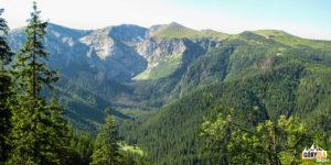 Dolina Miętusia, nad nią Dolinki Litworowa i Mułowa
