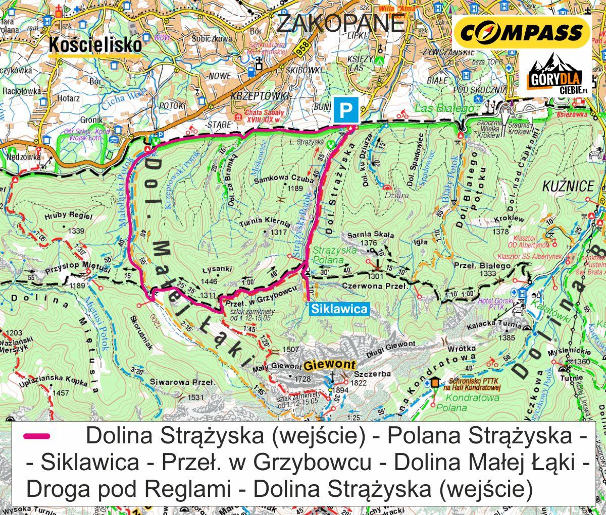 Z Doliny Strążyskiej doDoliny Małęj Łąki - mapa