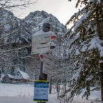 Rozwidlenie szlaków na Polanie Stążyskiej - w prawo na Przełęcz w Grzybowcu