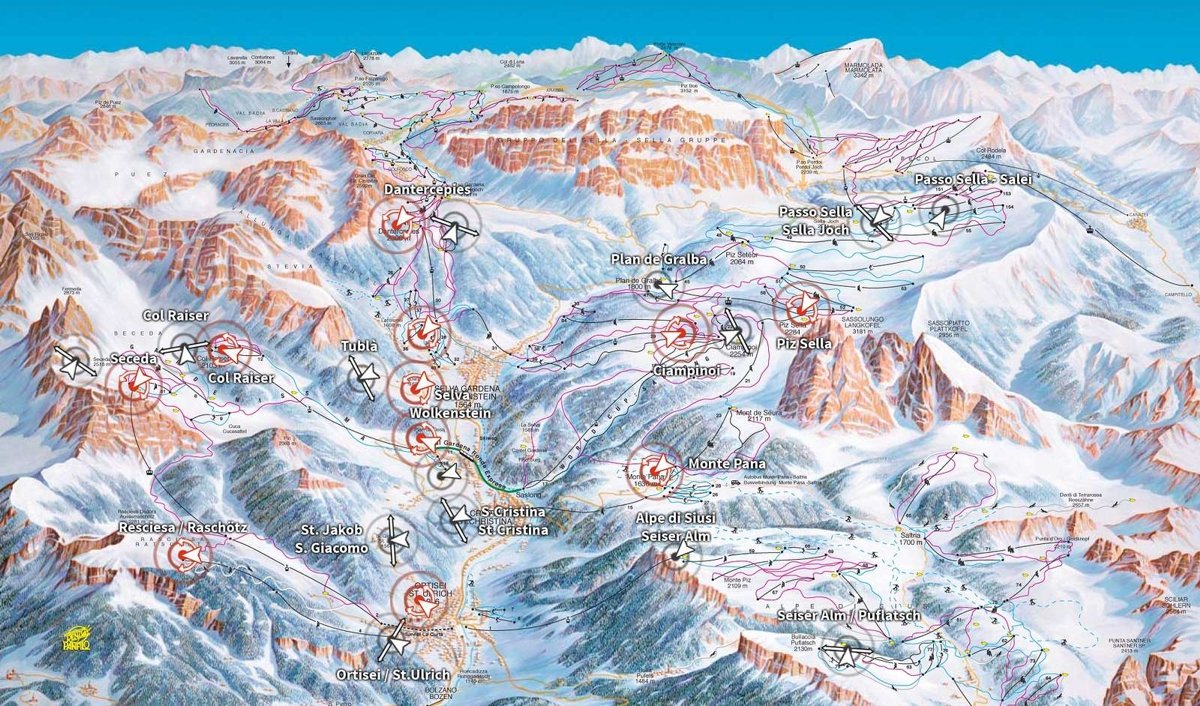 Val Gardena - mapa kamer online