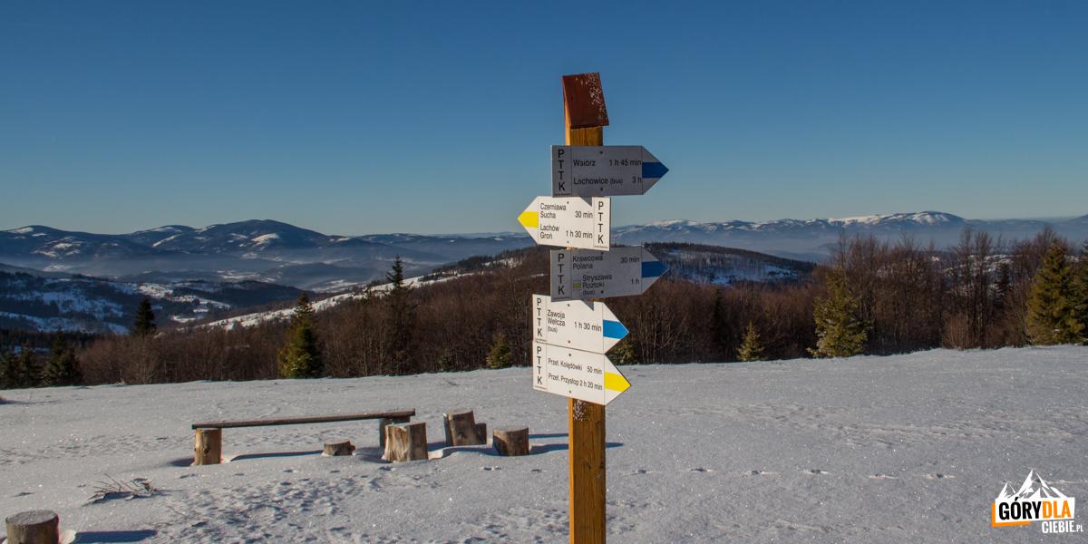 Drogowskazy na szczycie Jałowca (1111 m)
