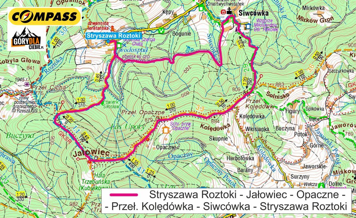 Jałowiec zimą - mapa trasy