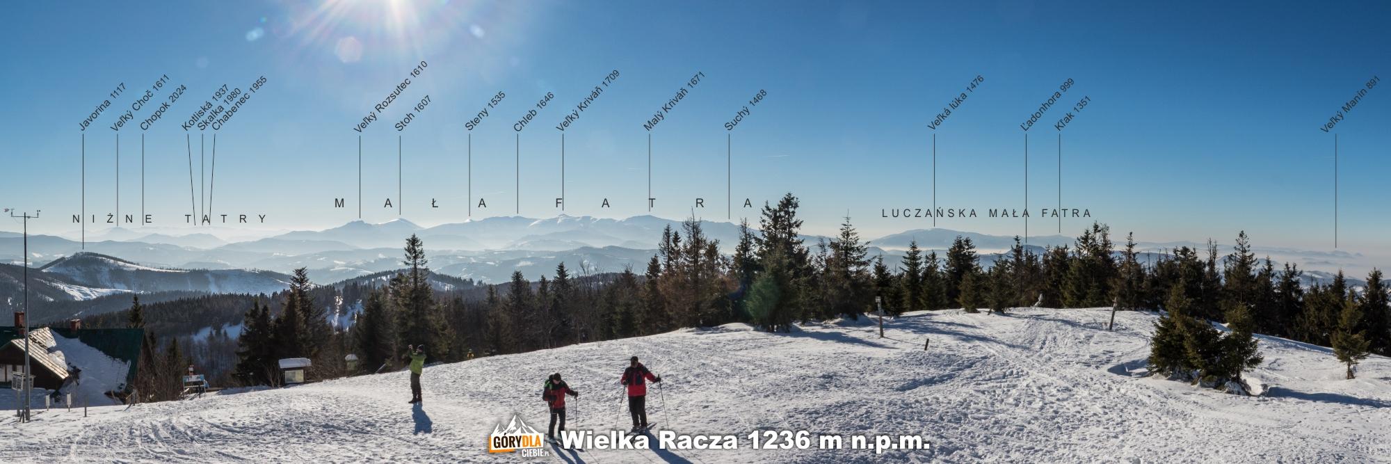 Panorama zeszczytu Wielkiej Raczy (1236 m) napołudnie