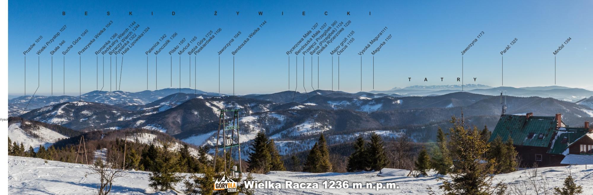 Panorama zeszczytu Wielkiej Raczy (1236 m) nawschód