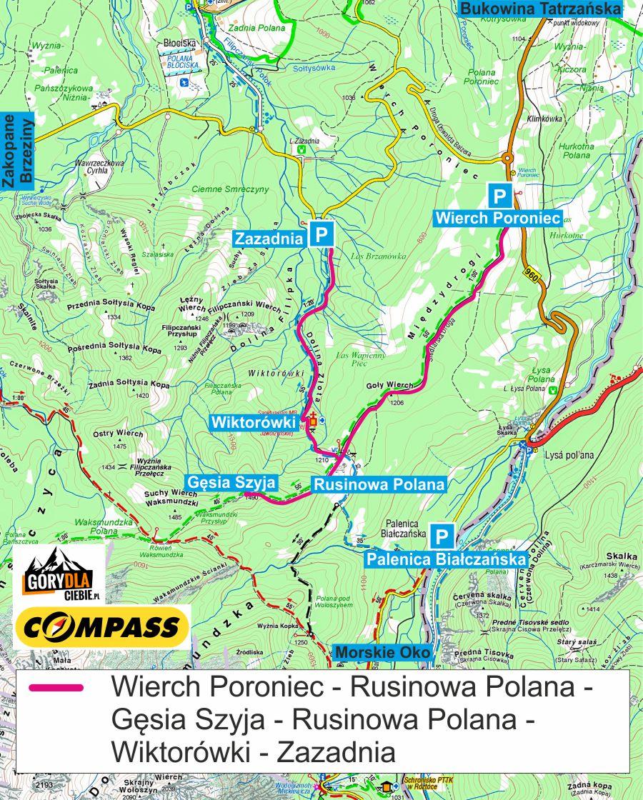 Rusinowa Polana i Gęsia Szyja mapa