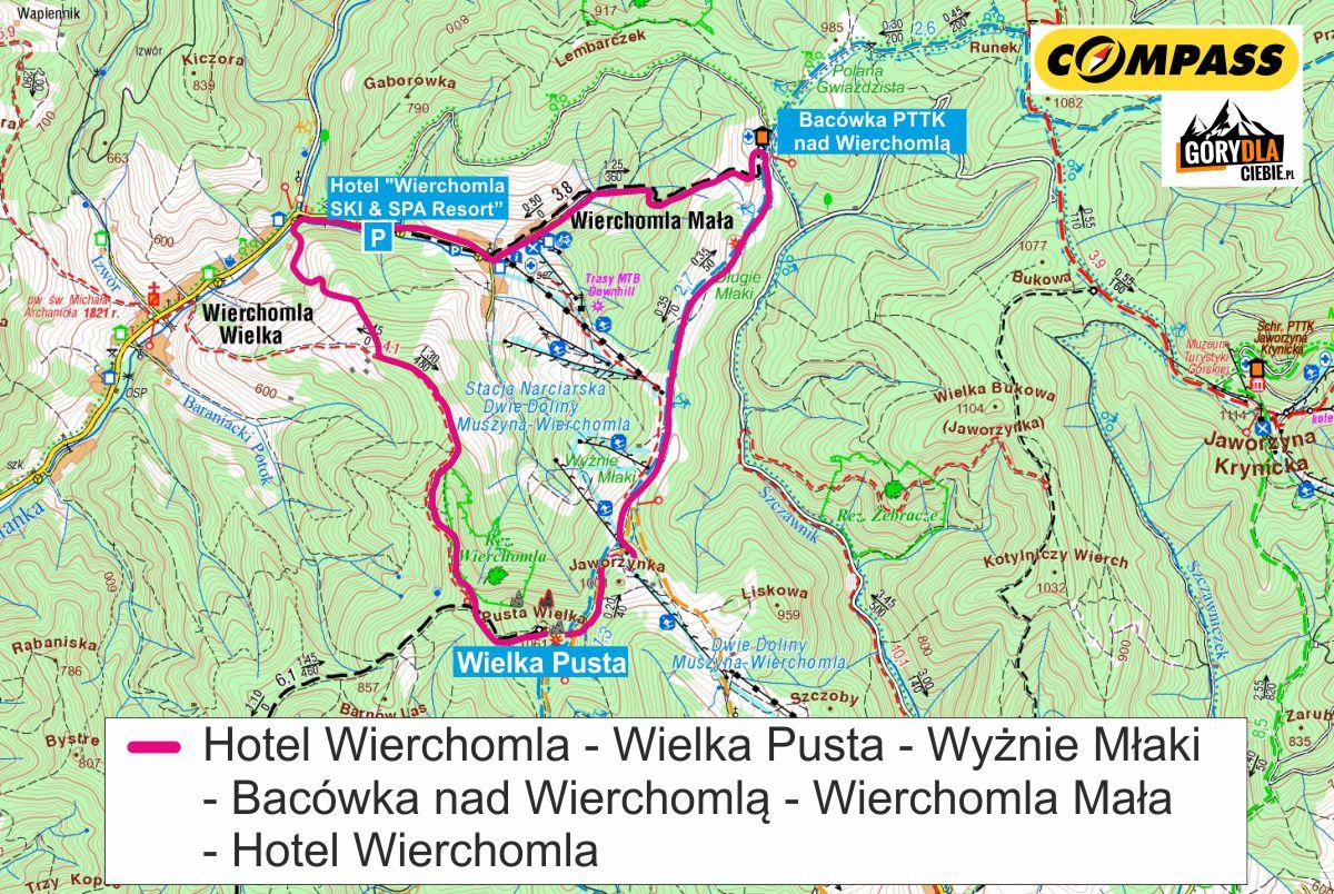 Wokół Wierchomli mapa trasy