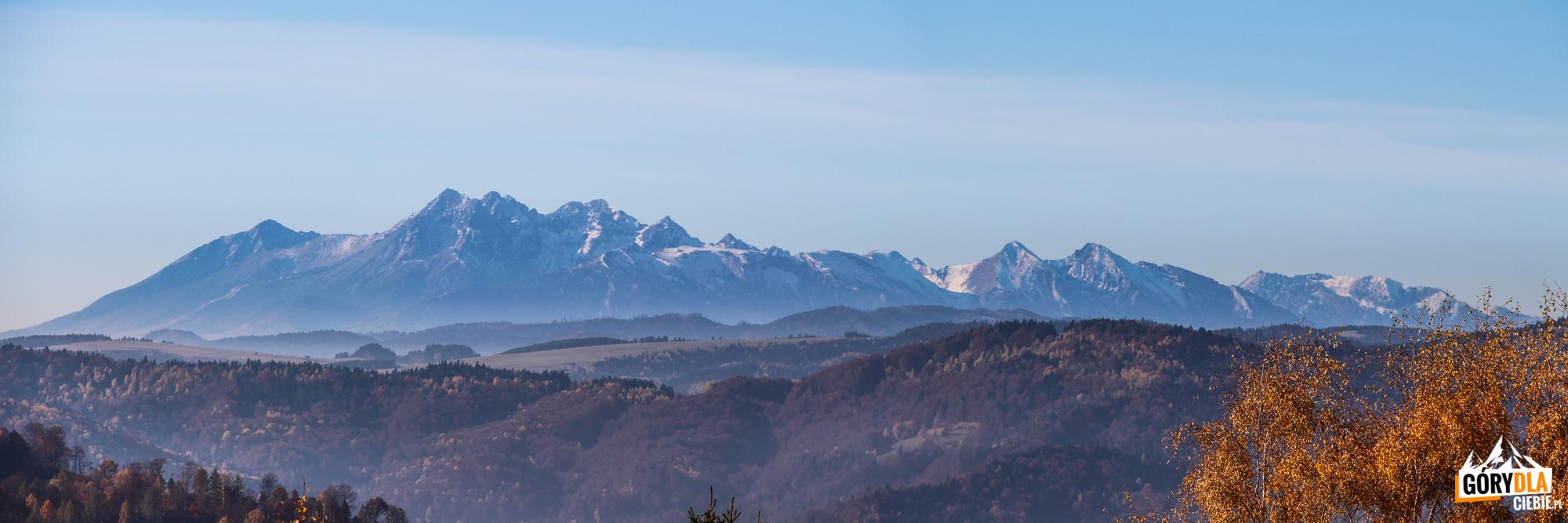 Panorama Tatr z podejścia na Pustą Wielką (1061 m)