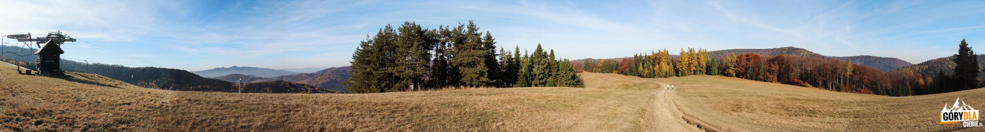 Grań nad wyciągami narciarskimi z Wierchomli, po prawej widać Runek (1080 m)
