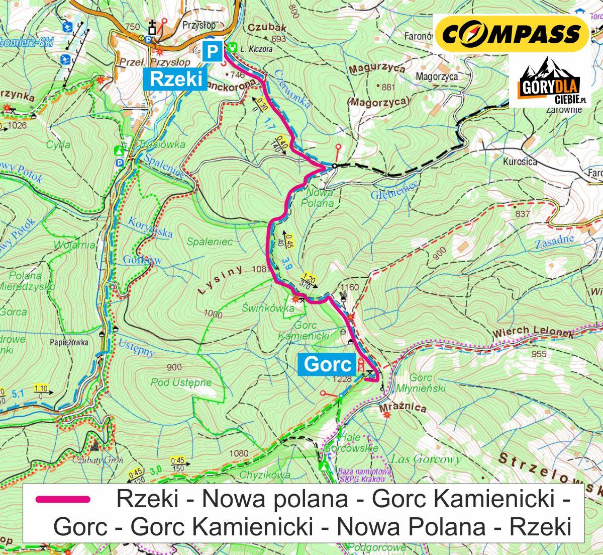 Gorc zRzek - mapa trasy