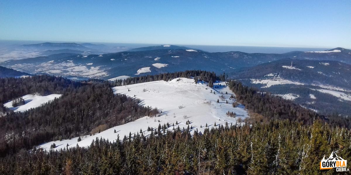 Panorama zwieży widokowej naszczycie Gorca (1228 m) - napółnoc