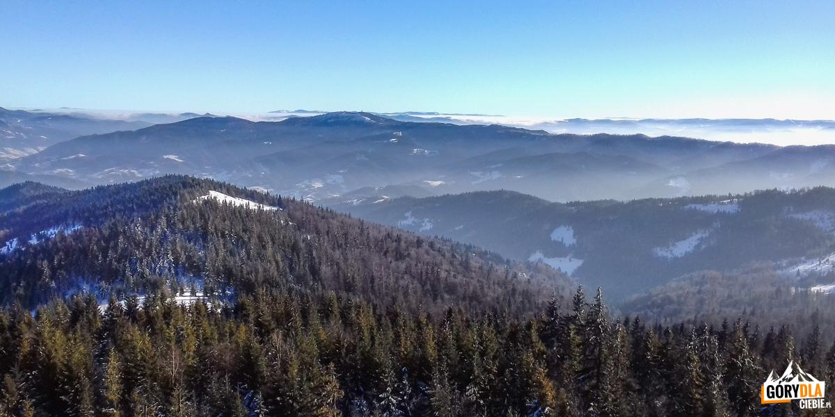 Pnorama zwieży widokowej naszczycie Gorca (1228 m) napołudniowy wschód