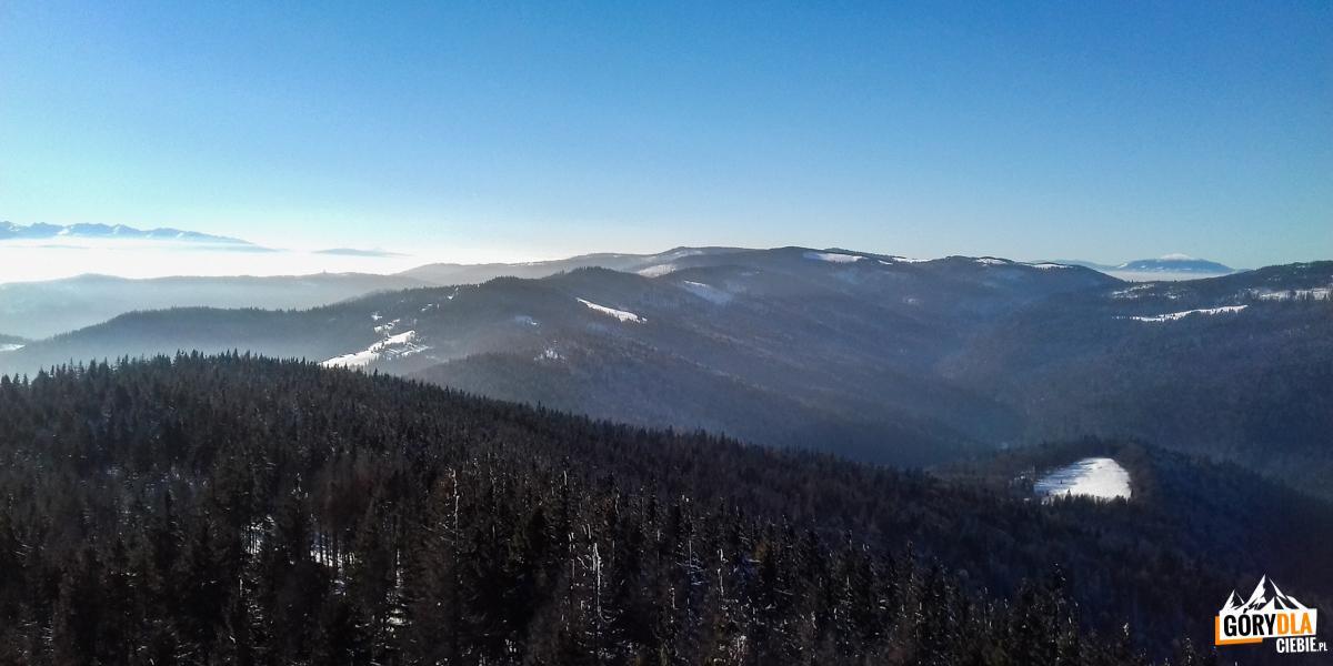 Panorama zwieży widokowej naszczycie Gorca (1228 m) - nazachód
