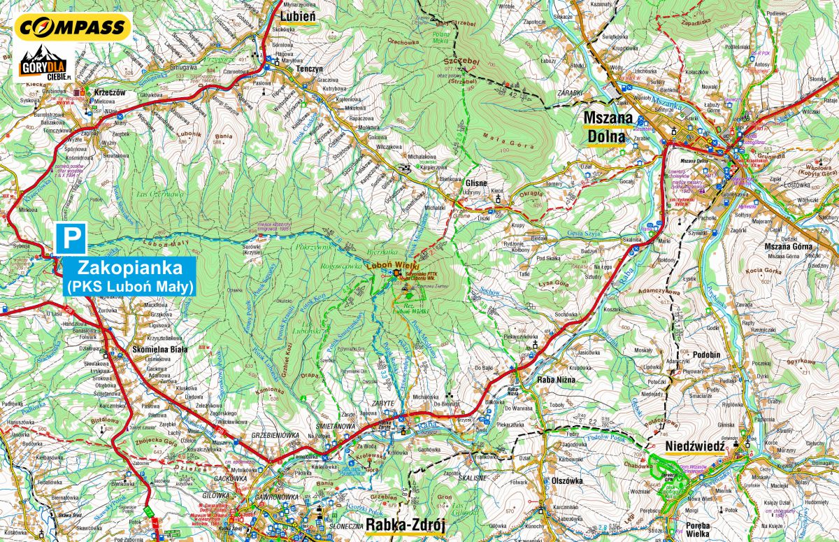Luboń Wielki przez Surówki - dojazd, mapa