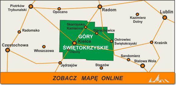 Mapa zakres Góry Świętokrzyskie