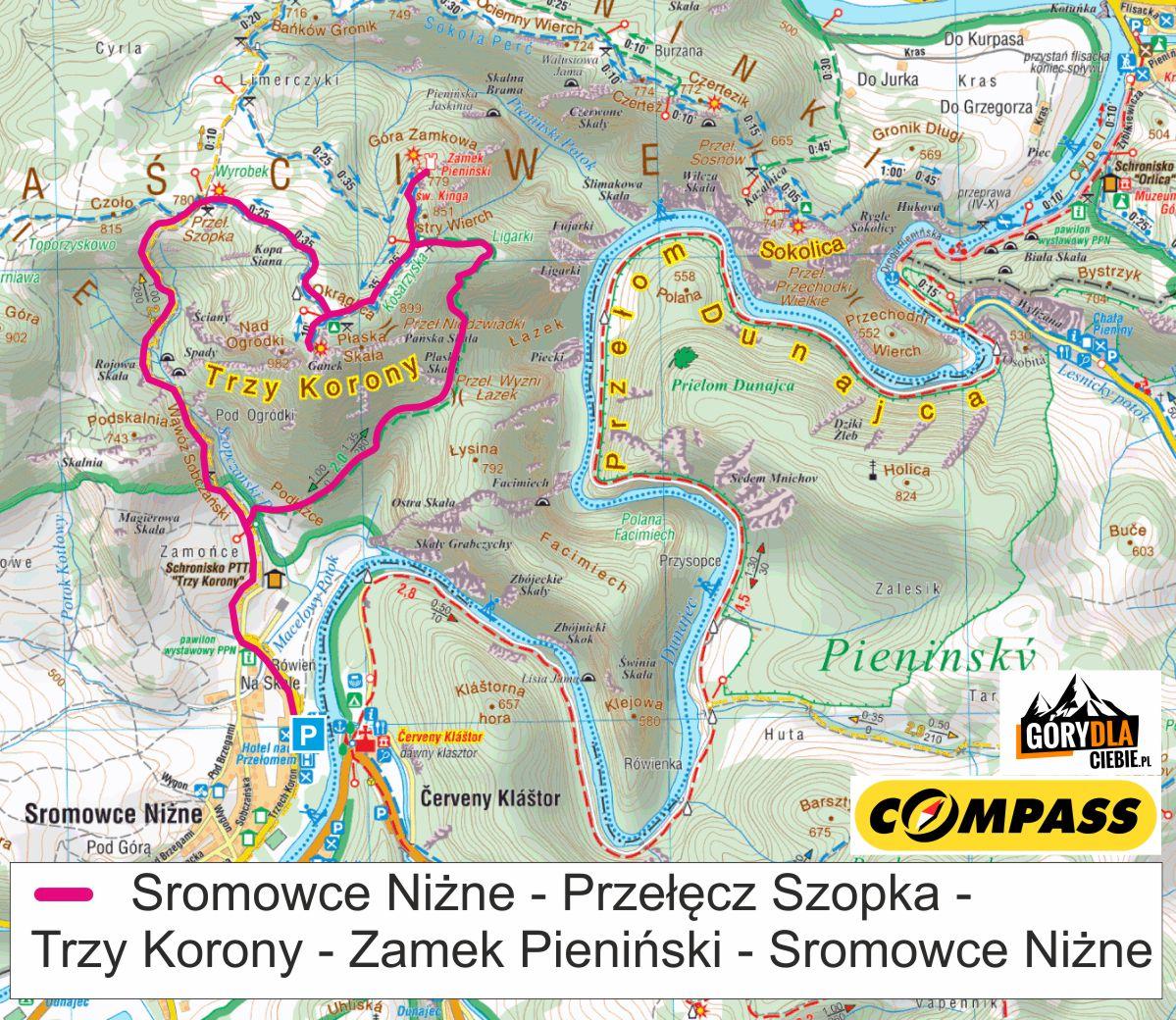 Trzy Korony w Pieninach - mapa