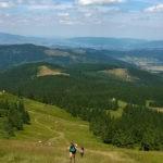 Widok na Halę miziowa i Kotlinę Żywiecką z podejścia na szczyt Pilska