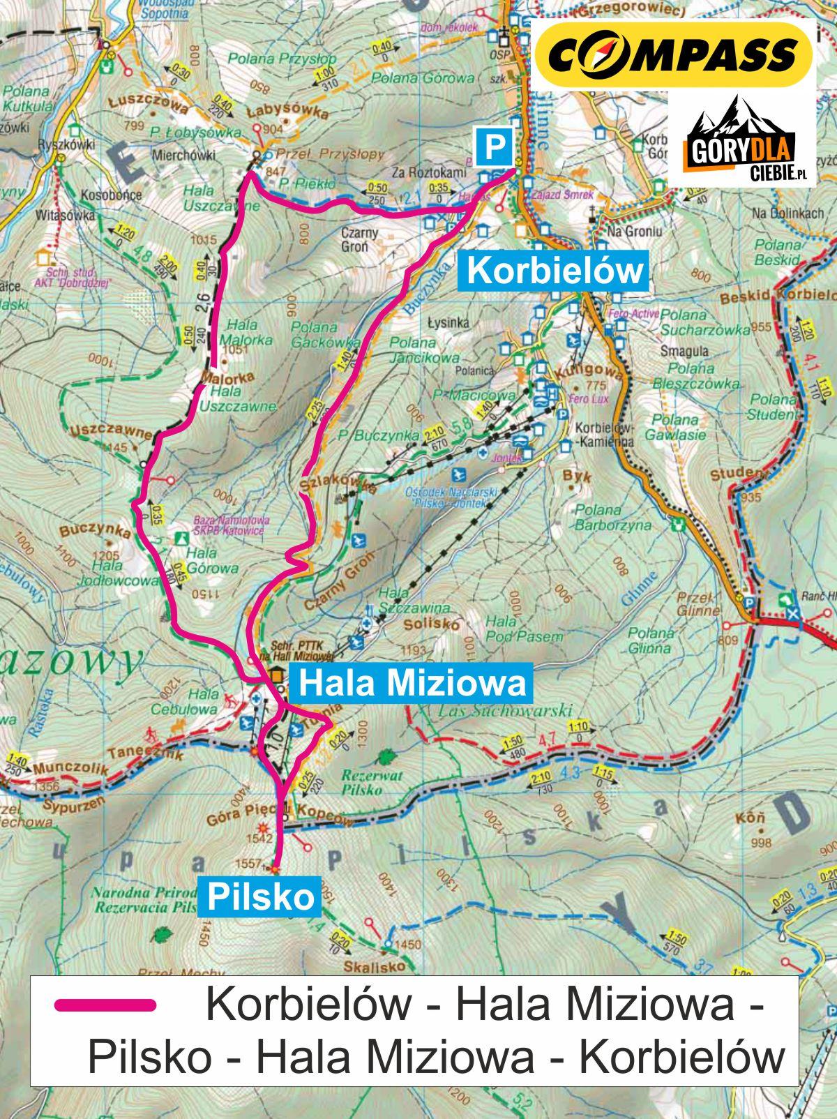 Pilsko zKorbielowa - mapa trasy