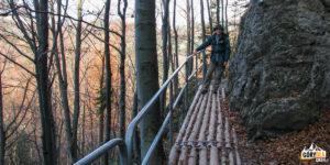 Ubezpieczona ścieżka na Górę Zamkową w Pieninach
