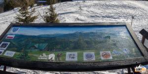 Tablica z opisaną panoramą z tarasu widokowego na szczycie Wielkiej Raczy (1236 m)