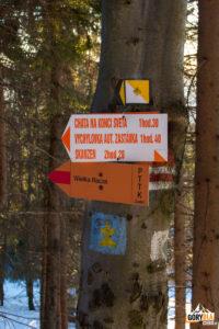 Drogowskazy na Przełęczy Przegibek (990 m)