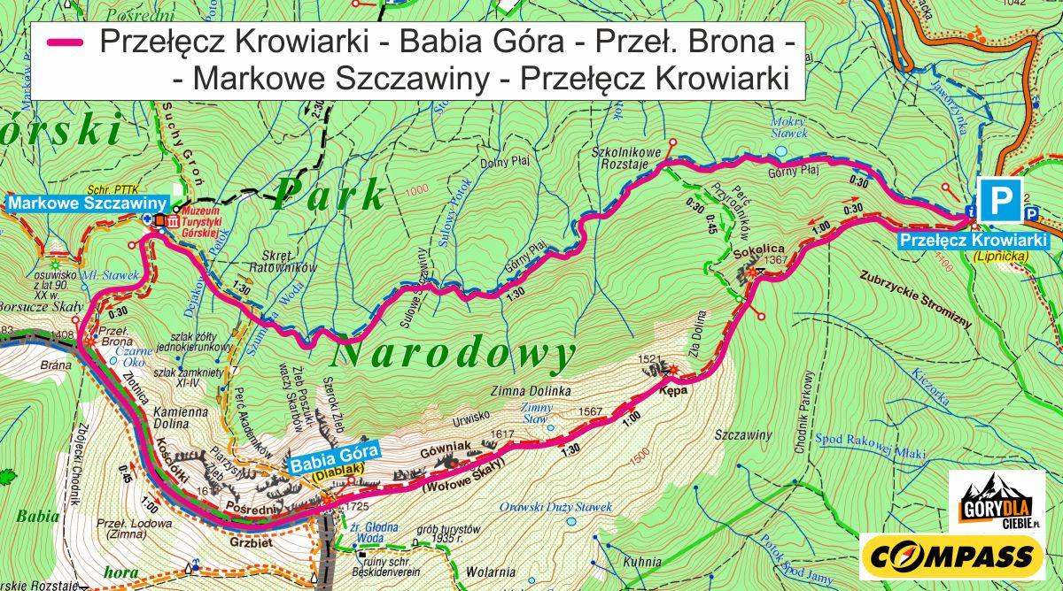 Babia Góra, mapa